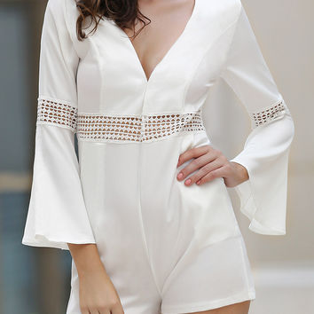 White Bell Sleeve Pocket Detail Cut-Out Romper
