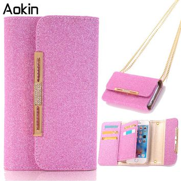 Aokin Phone Bag for iPhone 7 Glitter Pink Purse Magnetic Detachable Girl Case For iPhone 7 Plus Luxury Wallet Bag Strap Chain