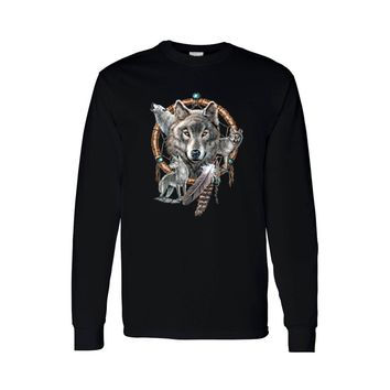 Unisex Long Sleeve Shirt Wolves With Dreamcatcher