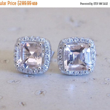SALE Stud Morganite Earrings- Bridal Earrings- Halo Earrings- Morganite Earrings- Square Earrings- Stud Post Earrings