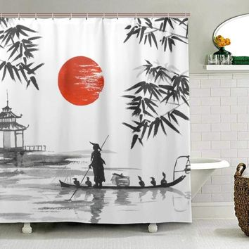 Shower Curtain Japanese Painting Man Boat Pattern Print ✈ Worldwide Delivery