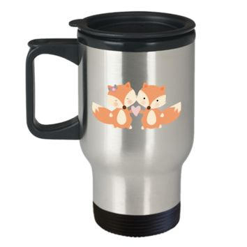 Fox Love travel mugs - Funny Valentines day Gifts - Funny 14 oz Travel mugs