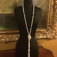 White Glass Pearl Rope Necklace