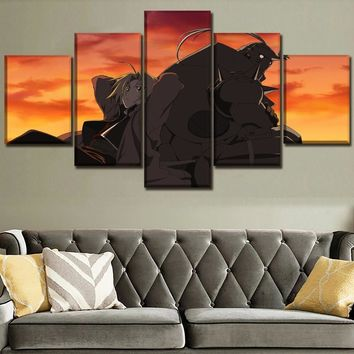 Wall Art Canvas Print Painting Picture For Bedroom 5 Panel Anime FullMetal Alchemist Alphonse Elric Edward Poster Home Decor