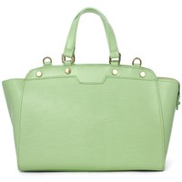 Mint Leather Tote Bag with Rivet Decor Embellishment