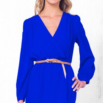 Indie XO That's A Wrap Royal Blue Long Sleeve Cross Wrap V Neck Elastic Tulip Chiffon Mini Dress - Just Ours!
