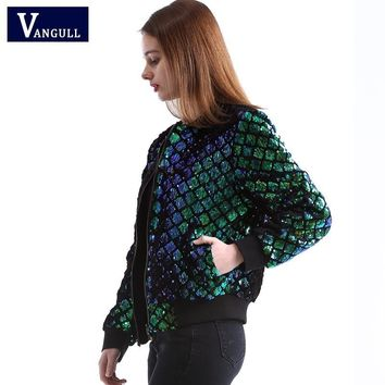 Trendy Vangull New Spring Autumn Women Sequin Coat Green Bomber Jacket Long Sleeve Zipper Streetwear Jacket Preppy Casual Basic Coat AT_94_13