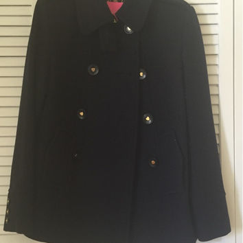Navy Blue Heart Button Betsey Johnson Peacoats