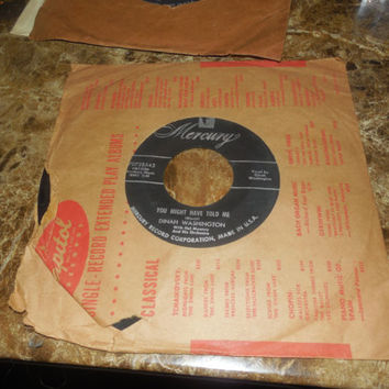 Vintage Vinyl Record 45 - Dinah Washington With Hal Mooney And His Orchestra - You Might Have Told Me -  I'm Lost Without You Tonight
