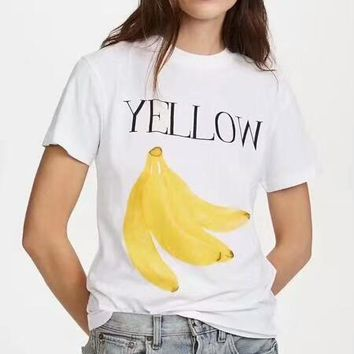 GANNI 2018 New Women's Banana Print Trendy T-shirt Short Sleeve F-ZYHFS