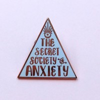 The Secret Society of Anxiety White and Rose Gold Enamel Pin