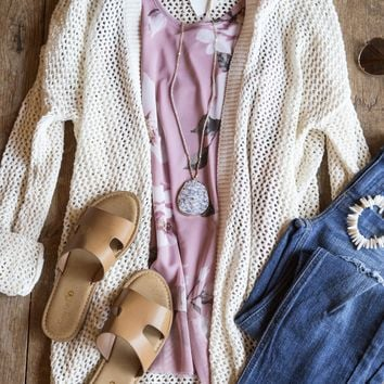Flowerchild Open Knit Cardigan, Natural