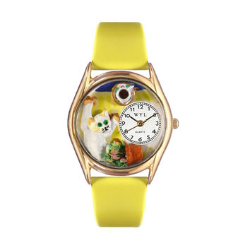 Whimsical Watches Healthcare Nurse Gift Accessories Bad Cat Yellow Leather And Goldtone Watch