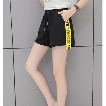 Hot Shorts Lace Girl  Women Loose Casual  2018 Summer New Sweatpants Loose Elastic Waist  Feminino Sweat BlackAT_43_3