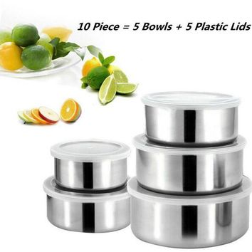 5pcs/lot Stainless Steel Mixing Bowls Box Ingredients Standby Bowl Food Container DIY Cake Bread Salad Mixer Tools 5Bowl + 5Lid