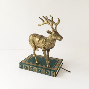 Vintage Solid Brass Reindeer Statue, Large Decorative Brass Reindeer Figurine, Christmas Decor, Library Office Mountain Cabin Lodge Decor