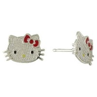 Hello Kitty Red Sterling Silver Stud Earrings