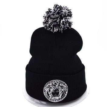 Perfect Versace Women Men Embroidery Beanies Winter Knit Hat Cap