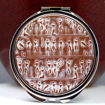 Polymer clay covered compact mirror, ancient people design, round OOAK design