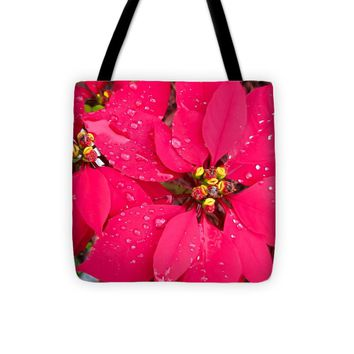 "Poinsettia morning dew Tote Bag by Zina Stromberg (13"" x 13"")"