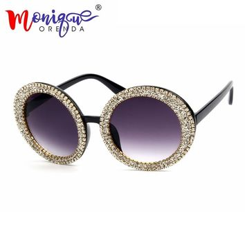 MONIQUE Oversize Sunglasses Women Round Vintage Luxury Bling stones Sun Glasses men and women Sunglasses Oculos De Sol