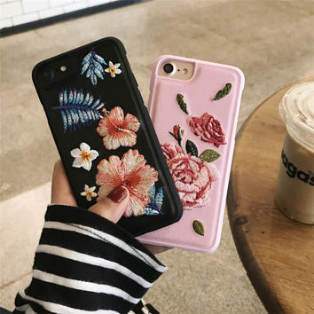 New 3D Blossom Cherry Flower Petal Embroidery Case Cover for Apple iPhone 7 7plus Case Luxury Fundas for 6 6s Plus Phone Case -0323