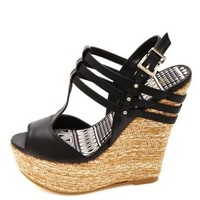 Strappy Peep Toe T-Strap Platform Wedges by Charlotte Russe - Black