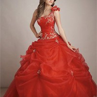 New Style One-shoulder Flower Embroidery Ball Gown Quinceanera Dress QD098