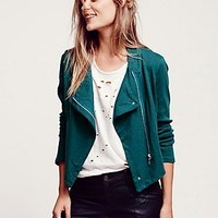 Free People Womens Washed Moto Jacket
