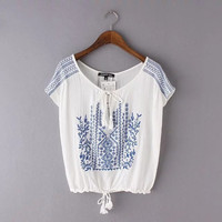 Embroidered Lace Up T-Shirt