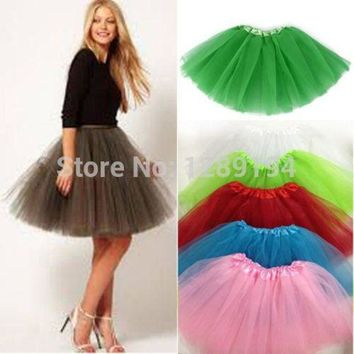 CREYONHC Women Girl Pretty Elastic Stretchy Tulle Teen 3 Layer Adult Tutu Skirt Ball Gown Tutu Skirt