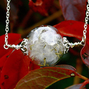 DANDELION SEEDS Necklace in Glass bubble with Swarovski crystal