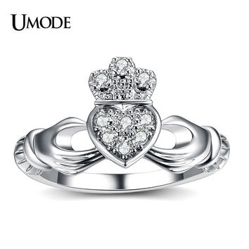 UMODE New Luxury White Gold Plated Hand&Heart&Crown Claddagh Rings For Women Friendship CZ Wedding Band Jewelry Fashion AUR0127