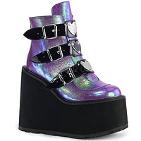 "Swing 105 Purple Iridescent Multiple Buckle Ankle Boot 5.5"" Platform"