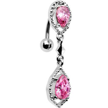 Pink Gem Twin Top Mount Dangle Belly Ring