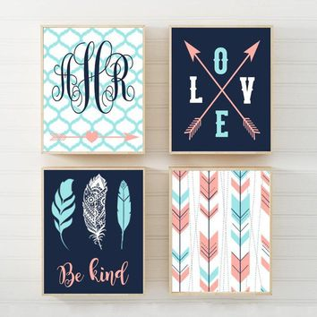 Girl TRIBAL Nursery Wall Art, Girl Tribal Decor, Woodland CANVAS or Prints Girl Monogram Name, AZTEC Pattern, Boho Bedroom Decor, Set of 4