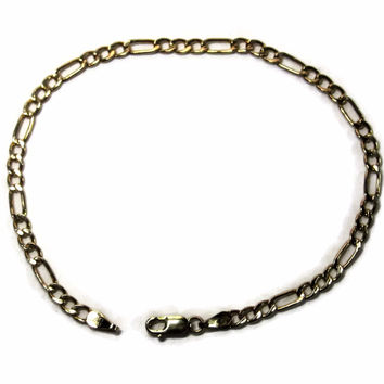 Vintage 10K Yellow Gold Italian Figaro Bracelet 4mm 7.25 Inches