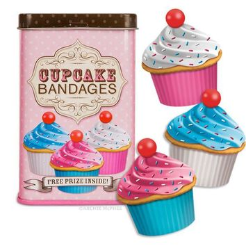 Cupcake Bandages In Pink, Blue and White with Sprinkles