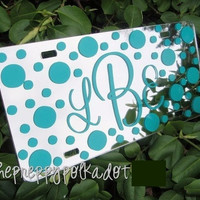 Custom Preppy Monogram Mirror License Plate Polka Dot