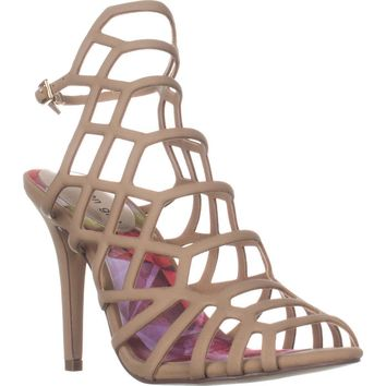 madden girl Directt Caged Ankle Strap Sandals, Nude, 9 US