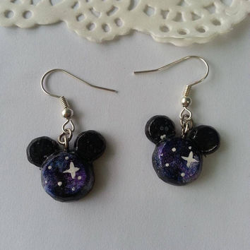 Galaxy Color Inspired Mickey Mouse Head Earrings - Polymer clay Charm, Disney Earrings, Stud Earrings, Polymer Clay Earrings, Disney Charm