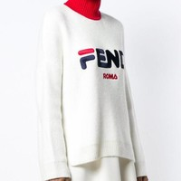 FENDI Fashionable Women Casual Embroidery Knit Sweater Pullover Top Sweatshirt White I/A