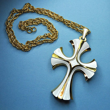 CROWN TRIFARI Vintage Gold and White Enamel Huge Flared Cross Pendant Necklace, Gorgeous Statement! #A676