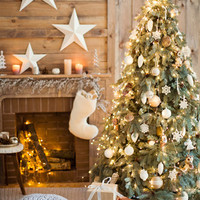 6776 Wood Cabin Christmas Tree Printed Backdrop