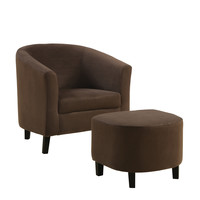 Chocolate Brown Padded Micro-Fibre Chair And Ottoman