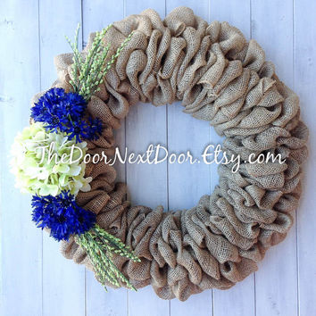 Floral Burlap Wreath - Pale Green Hydrangea Burlap Wreath - Year Round Wreath