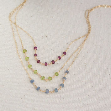 14k Gold filled Dainty Gemstone Necklace