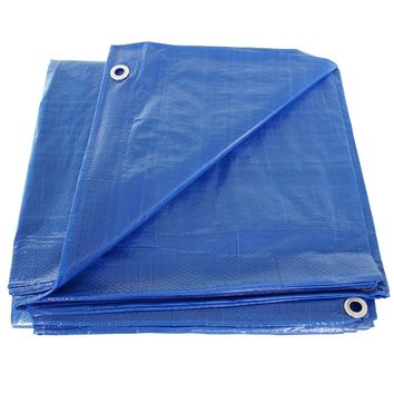 100' x 100' Blue Poly Tarp Cover, Water Proof Tent Shelter Camping RV Boat Tarpaulin