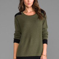 Kingsley Army Crew Sweater in Khaki/Black