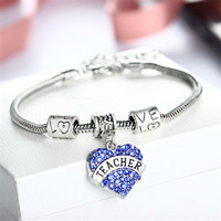 Engraved Teacher Gifts Love Heart Full Rhinestone Crystal Charm Pendant Beads Silver Bangle Bracelet Party Women Lady Jewelry